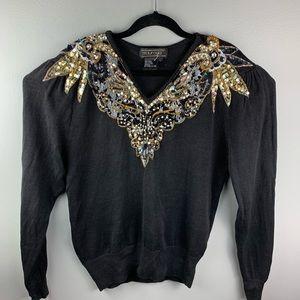 Vintage Maurada Sequin Embroidered Ramie Sweater